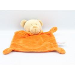 Doudou plat ours beige orange POMMETTE