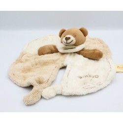Doudou plat ours beige marron blanc Bamboo BABY NAT