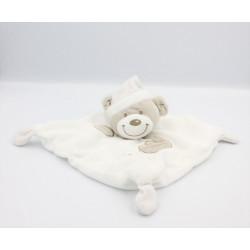 Doudou plat ours blanc gris rayé VETIR GEMO