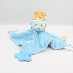 Doudou plat ours bleu hochet dentition BABY NAT