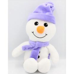 Doudou bonhomme de neige blanc mauve MILKA