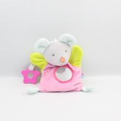 Doudou marionnette souris rose vert bleu SUCRE D'ORGE