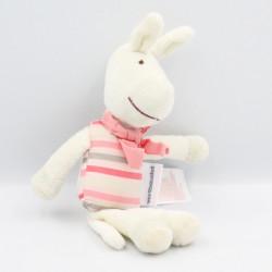 Doudou ane cheval blanc rose rayé VERTBAUDET