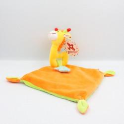 Doudou plat girafe jaune orange vert étoiles NICOTOY