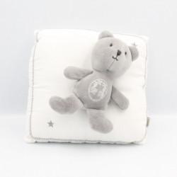 Doudou musical coussin blanc ours gris DPAM DU PAREIL AU MEME