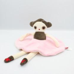 Doudou plat poupée Anna Ballerine rose blanc marron ESTHEX