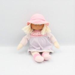 Doudou poupée rose mauve rayé pois COROLLE