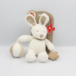 Doudou lapin blanc foulard beige balle étoile NICOTOY