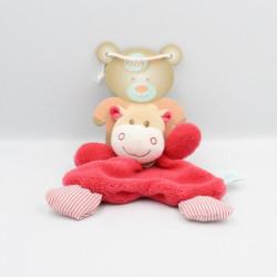 Doudou plat vache beige rose rayé BABY NAT