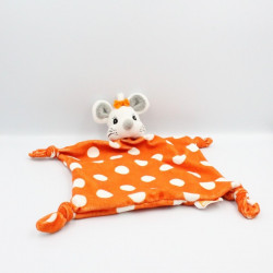 Doudou plat souris orange pois ELMEX