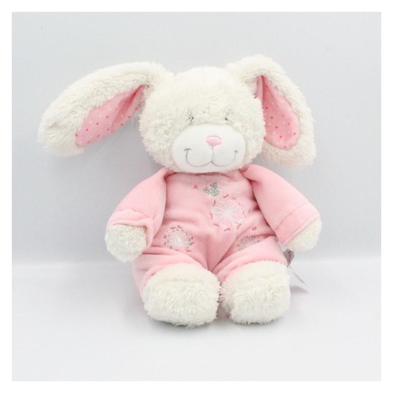Doudou lapin blanc rose fleurs abeille TEX