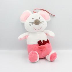 Doudou musical souris rose blanc coeur Bébé9