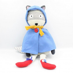 Doudou raton laveur gris cape bleu VERTBAUDET