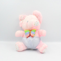Peluche Puffalump éléphant rose violet mauve coeurs