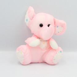 Peluche Puffalump éléphant rose blanc étoiles CARREFOUR