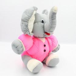 Peluche Puffalump éléphant gris blanc rose fluo JOUMECA
