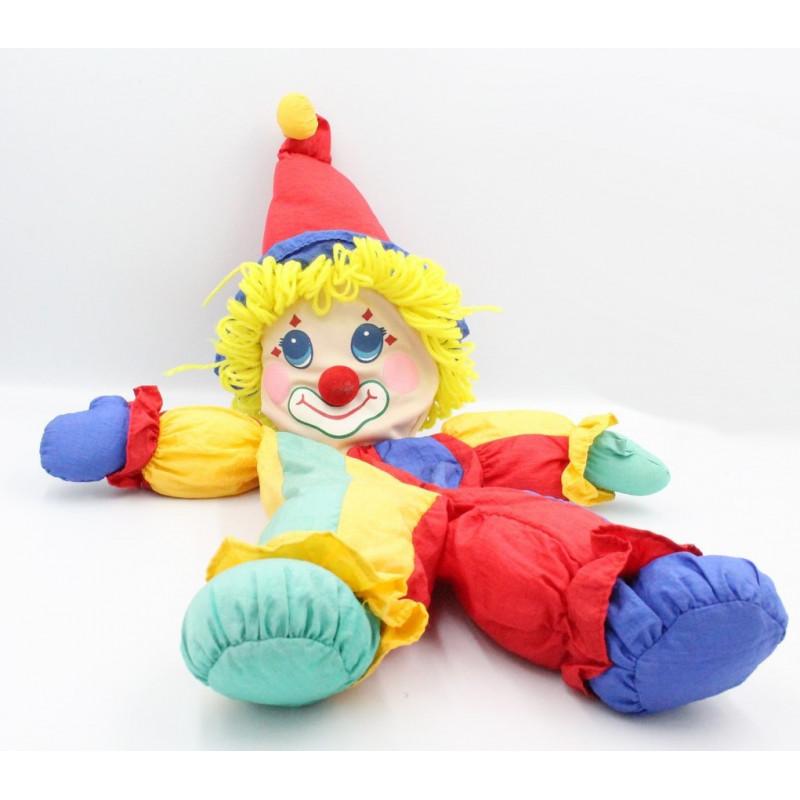 Peluche Puffalump clown rouge jaune bleu vert
