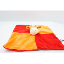 Doudou plat girafe vache orange rouge CP INTERNATIONAL