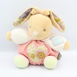 Doudou lapin boule rose blanc vert coeur fleuris Bliss KALOO