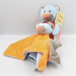 Doudou ours bleu rose orange gris DOUKIDOU