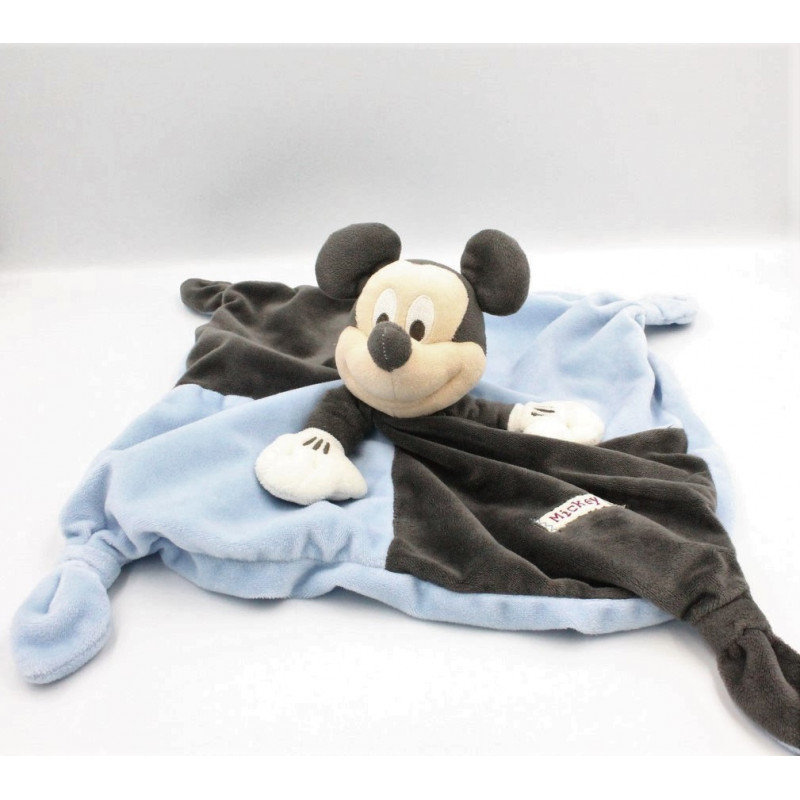 Doudou plat souris Mickey bleu noir DISNEY STORE
