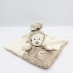 Doudou plat ours déguisé en lapin beige blanc écru SIMBA TOYS