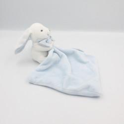 Doudou et compagnie lapin blanc bleu noeud mouchoir