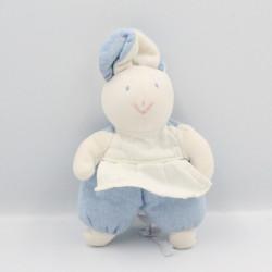 Doudou lapin bleu tablier blanc HISTOIRE D'OURS
