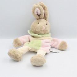 Doudou plat marionnette lapin beige rose vert écru SIRETEX