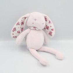 Doudou lapin rose fleurs...