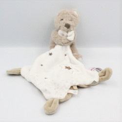 Doudou ours beige blanc étoiles mouchoir POMMETTE