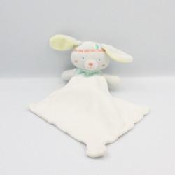 Doudou lapin gris bleu jaune indien mouchoir Cajou SUCRE D'ORGE