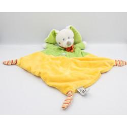 Doudou plat lapin jaune vert pois ours brodé MOTS D'ENFANTS