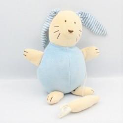 Doudou musical lapin écru bleu rayé JACADI