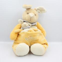 Grand Doudou Kangourou jaune blanc bleu avec bébé NOUKIE'S