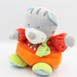 Doudou chat gris rouge orange pois chat brodé MOTS D'ENFANTS