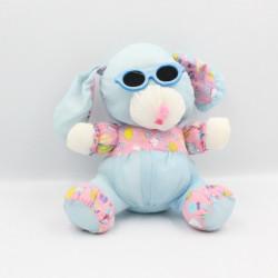 Peluche Puffalump chien bleu rose imprimé avec lunettes
