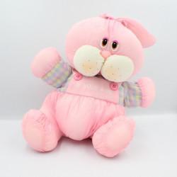 Peluche Puffalump lapin rose mauve jaune carreaux Je vous aime