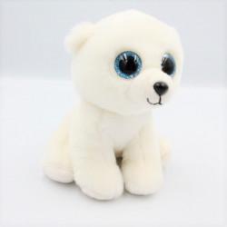 Peluche ours blanc yeux bleus brillants TY