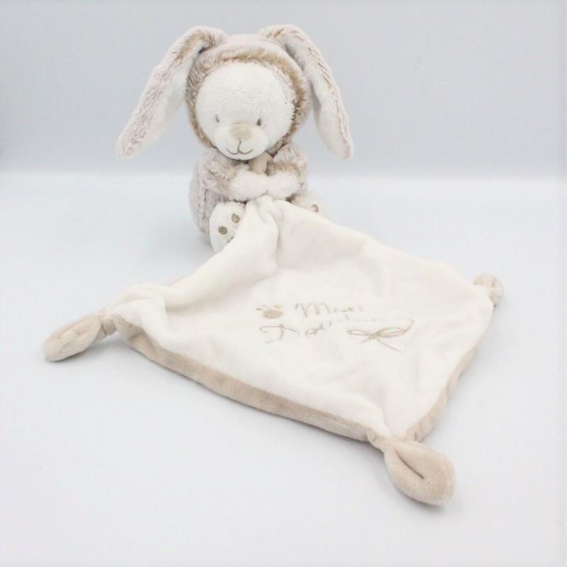 Doudou ours déguisé en lapin blanc beige mouchoir SIMBA TOYS