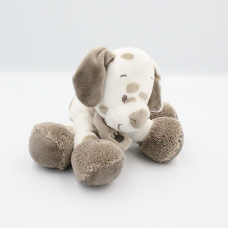 Doudou chien blanc beige Max Noa et Tom NATTOU