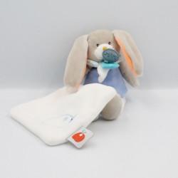 Doudou lapin gris bleu blanc orange mouchoir BABY NAT