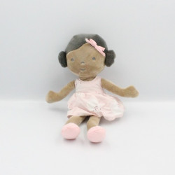 Doudou poupée fille métis robe rose OBAIBI