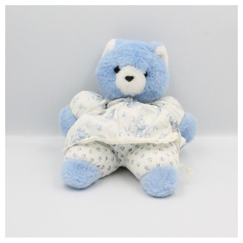 Doudou peluche ours bleu blanc fleurs MUNDIA