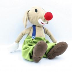 Doudou chien clown marron vert bleu avec souris IKEA