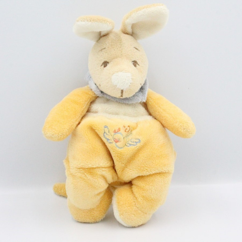 Doudou Kangourou jaune bleu NOUKIE'S