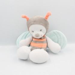 Doudou ours papillon abeille blanc rose bleu gris NATTOU