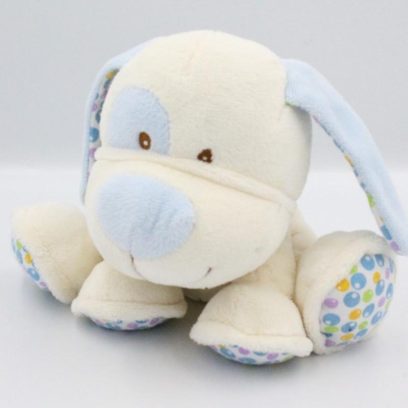 Doudou chien blanc bleu bulles GIPSY