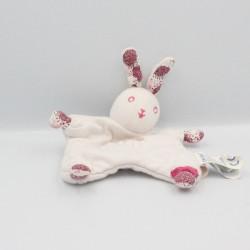 Doudou plat lapin blanc rose Bonheur OBAIBI