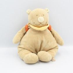 Doudou musical ours beige Tonton sac à dos bleu NOUKIE'S